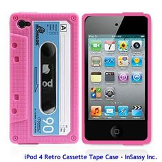 Pink/Blue Silicone Cassette Tape Case for Apple iPod Touch 4 4th Generation....LOVE IT