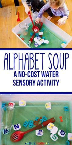 Alphabet Soup: Sensory Water Activity – Busy Toddler Alphabet Soup: Sensory Water Activity for babies, toddlers, and preschoolers; learn the alphabet with a sensory bin; a literacy and sensory activity Letter Activities, Language Activities, Infant Activities, Activities For Kids, Preschool Cooking Activities, Activity Ideas, Alphabet For Toddlers, Learning The Alphabet, Toddler Alphabet