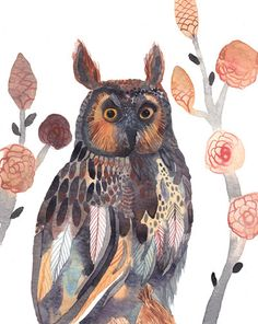 'Long-eared Owl and Climbing Roses' by Michelle Morin