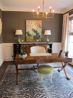 Tracy Hardenburg Designs - Tracy Hardenburg Designs Office love-the wall color, the fun carpet, the art. Dining Room Office, Home Office Space, Home Office Design, Home Office Decor, Office Furniture, House Design, Home Decor, Office Designs, Office Ideas