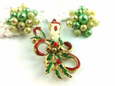 Vintage Enamel Candle Holiday Brooch, Green Cluster Bead Earrings.Jewelry Lot on Etsy, $14.00