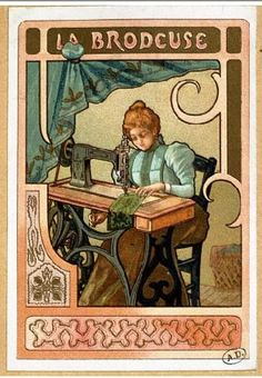 Vintage sewing trade art