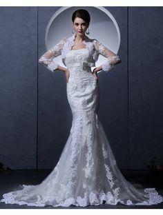 Wedding Dresses Wedding Dresses,Stkittsipa Trumpet/Mermaid Strapless Sleeveless Tulle White Wedding Dress With Appliques #Wedding#Dresses