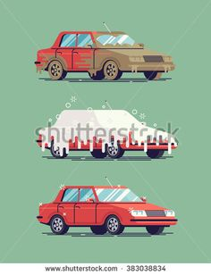 Cool vector flat illustration on dirty and clean car. Car wash stages process from dirty to clean. Dirt, foam covered and shining clean car isolated. Car wash creative design elements - stock vector