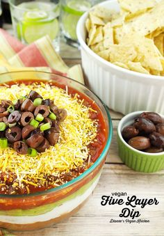 Vegan Five Layer Dip – This dip is dairy-free, gluten-free, and perfect for parties! >> Dianne's Vegan Kitchen