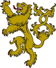 The symbol of a lion is very common in heraldry and is used most often on family crests. The animal represents courage which is why it was so popular, and the gold conveys a sense of wealth and power Diy Knight Costume, English Knights, Crest Tattoo, Family Shield, Lion Drawing, Lion Logo, Medieval, Shield Logo, Family Crest