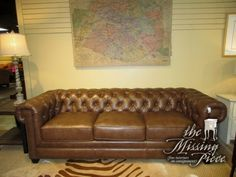 "The Kingston Milano chesterfield sofa in a caramel leather with nailhead trim. What an exquisite piece. You just can't beat the style and elegance a chesterfield sofa brings to a room! 94""long x 39""deep x 33""high."