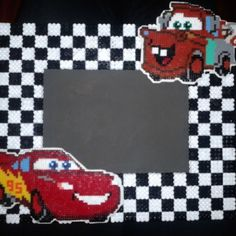 Cars photo frame hama beads by mi_armario_de_papel