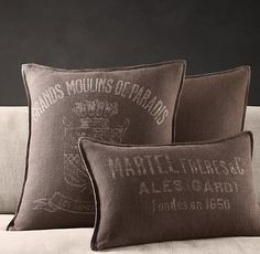 Vintage French Mill Linen Pillow Covers from Restoration Hardware