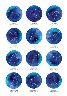 Zodiac Star Constellation, Horoscope, Watercolor, Watercolour, Modern, Print, Poster, Quote, Typography, Wall Home Decor, Tumblr, Pinterest  A4                                                                                                                                                                                 Más