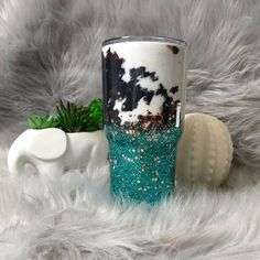 cow print and teal glitter tumbler- turquoise and rose gold ombre glitter- cow hide- cow skin glitter cup- country girl gift- southern Diy Tumblers, Custom Tumblers, Glitter Tumblers, Personalized Tumblers, Glitter Cups, Gold Glitter, Gold Nails, Rose Gold Ombre, Tumbler Cups