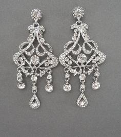 Chandelier wedding earrings  Crystal by QueenMeJewelryLLC on Etsy