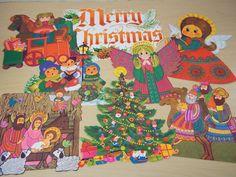 8 Piece Vintage Hallmark Christmas Die-Cut Decorations - 1960's -  Excellent