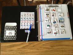 Binders to keep student schedules and individualized work. For kids with Autism.