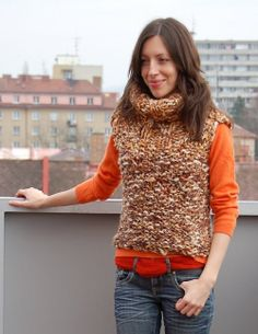 Hand made knitted super worm short vest in multicolor by Fischerka, $26.00
