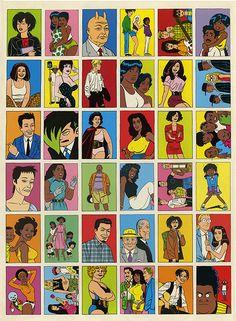 Love and Rockets Card Poster - Vintage, uncut trading card sheet by Jaime Hernandez and Gilbert Hernandez. $75. (Fantagraphics 2014 Spring Season: 39 Graphic Novels & Books by Gary Groth — Kickstarter)