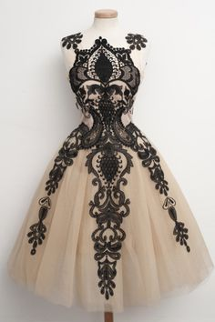 Amazing black lace and nude tulle dress from Chotronette