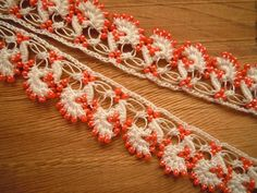 handmade beaded trim orange white oya 3.10 m / 3.4 yard