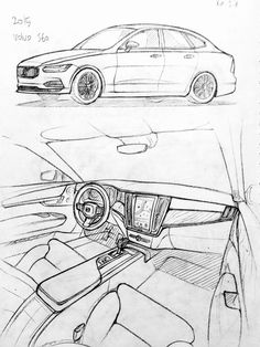 Car drawing 151206 2015 Volvo S60 Prisma on paper. Kim.J.H