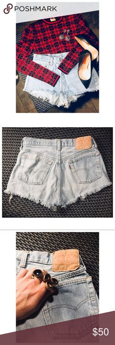 "💙Levi Cutoffs💙 I made these several years ago, and they really served me well!! No size- but front waist is approx 15"" and the length is 10"" 🎈Selling my WHOLE closet to lead a mobile lifestyle soon with the boyfriend 💖  Priced to sell quickly, everything must go so make me an offer 🤗‼️Poshmark rules only‼️ ❌ no trades ❌ leave ?'s👇🏽 thanks for stopping by! 💁🏻LIP Levi's Shorts Jean Shorts"