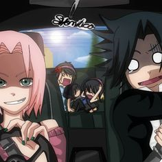 """S-sakura, h-how about I drive for a while...?"" - Sasuke  ""SILENCE, mortal."" - Sakura  ""We're all gonna die!!!"" - Kids"
