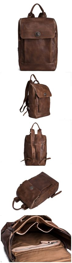 Vegetable Tanned Leather Backpack/ Travel Backpack/ School Backpack 9026 from…