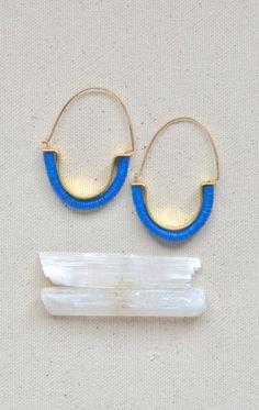 Temple Earrings in Capri Blue Tribal inspired