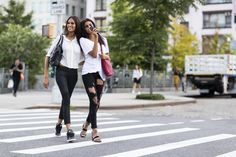 Models Cindy Bruna & Imaan Hammam during Mercedes Benz New York Fashion Week Spring Summer 2015.
