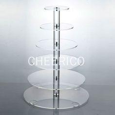 6 Tier Large Round Maypole Wedding Acrylic Cupcake by CHEERICO
