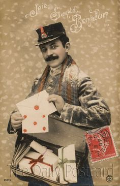 The Daily Postcard: French Postman Vintage Cards, Vintage Postcards, Vintage Photos, Valentines Greetings, Vintage Valentines, Vintage Love, Vintage Men, Old Mailbox, Old Letters