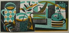 'Four Mugs (landscape)' (2013) by British artist and printmaker Jeremy Speck. Relief print, 14 x 30 cm. via the artist's site