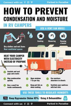 Tips for preventing condensation in your RV motorhome, wheel travel trailer,. - Tips for preventing condensation in your RV motorhome, wheel travel trailer, or diy camper van - Bus Camper, Camper Hacks, Camper Life, Rv Campers, Rv Hacks, Vw Bus, Life Hacks, Home Made Camper Trailer, Small Campers