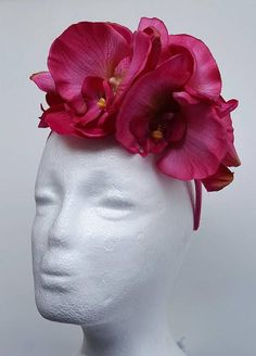 Spring Racing Floral Headband Hot Pink Fascinator with