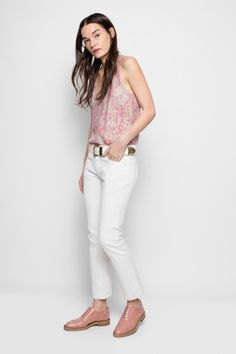 Zadig & Voltaire  pink brogues Brogues, White Jeans, Capri Pants, Pink, Women, Style, Fashion, Zadig And Voltaire, Swag
