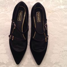 NWT Topshop pointed faux black velvet ballet flats Brand New Black faux velvet ballet flats with gold buckles Topshop Shoes Flats & Loafers