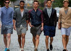 Men's Fashion | Menswear | Casual with Style | Shorts, Shirts and Blazers | Plaid, Striped, Geometric Mix | Moda Masculina | Shop at DesignerClothingFans.com