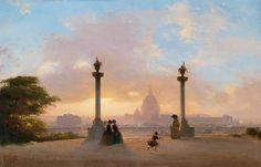 Le Prince Lointain: Ippolito Caffi (1809-1866), Rome, Vue du Pincio au Coucher de Soleil - 1855