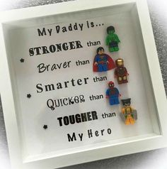 - Best Christmas Gifts for Dad What dadd. - Best Christmas Gifts for Dad What daddy get for Christmas # # # # # of Christm. Diy Father's Day Gifts, Father's Day Diy, Craft Gifts, You Are My Superhero, Dad Superhero, Lego Frame, Cadeau Parents, Daddy Day, Christmas Gift For Dad