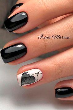 Black Nails Short, Black And White Nail Art, White Nails, Cute Nail Art Designs, Black Nail Designs, Subtle Nail Art, Heart Nail Art, Instagram Nails, Pretty Nail Art