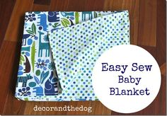 Easy Sew Baby Blanket.  Great last minute gift.  Also a great beginner project!