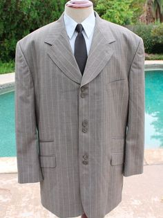 Tayion Blazer Suit Jacket size 52L WoolTCS864OMEGAV Pinstripe Paisley Lining #Tayion #ThreeButton