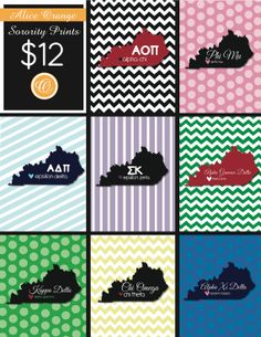 $12 Prints, Size 8.5x11. Customize your own sorority! WKU chapters!