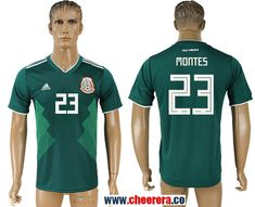 Mexico 23 MONTES Home 2018 FIFA World Cup Thailand Soccer Jersey