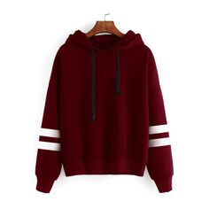SheIn(sheinside) Burgundy Drop Shoulder Varsity Striped Hooded... ($20) ❤ liked on Polyvore featuring tops, hoodies, burgundy, striped hoodie, cotton hoodie, red hoodie, cotton pullover and burgundy hoodie