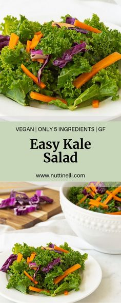 Looking for a healthy lunch or side dish for a potluck? Not only is this Easy Kale Salad super simple to make but it also tastes delicious! Easy Vegan Lunch, Vegan Lunch Recipes, Kale Recipes, Vegan Dinners, Easy Dinner Recipes, Vegan Food, Healthy Soy Sauce, Healthy Meals, Healthy Recipes