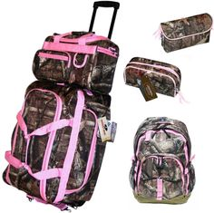 5 pc Pink Mossy Oak Camo Luggage Set Rolling Duffle Carry ON Bag Make up bags in Travel | eBay