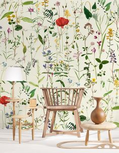 A stunning Mind the Gap matt digital image wallpaper mural with an all over pattern of single flower stems: pressed hedgerow flowers including poppy. Wallpaper Direct, Wallpaper Panels, Wall Wallpaper, Pattern Wallpaper, Large Print Wallpaper, Wallpaper Samples, Vintage Wallpaper Patterns, Accent Wallpaper, Wallpaper Wallpapers
