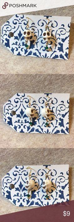 White Skull 💀Earrings Handmade white skull earrings. Measures a little over 1.5 inches. Handmade Jewelry Earrings