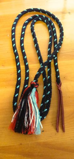 "Custom Paracord  Mecate Reins to be used as loop reins with slobber straps  1/2"" 10'"