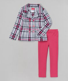 Loving this Pink Plaid Jacket & Leggings - Infant, Toddler & Girls on #zulily! #zulilyfinds